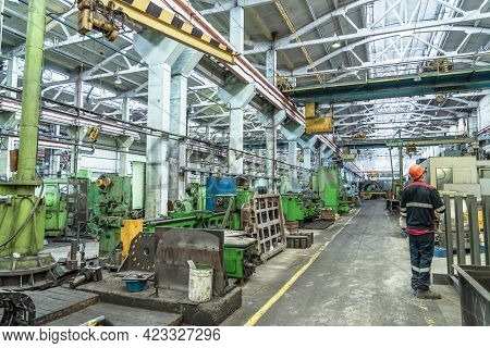 Industrial Interior Of Metalworking Factory. Workshop With Many Machine Tools For Metal Processing,