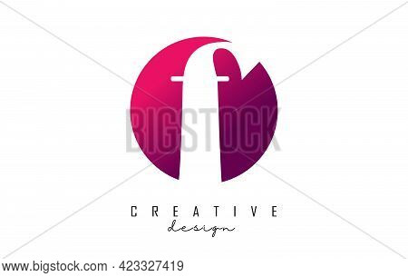 Handwritten F Logo On Pink Gradient Circle With Creative Cut. Creative Letter F Logo With Pink Backg