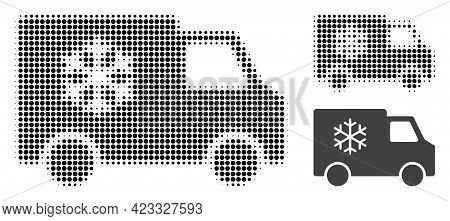Refrigerator Car Halftone Dotted Icon. Halftone Array Contains Round Points. Vector Illustration Of