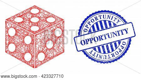 Vector Crossing Mesh Dice Cube Carcass, And Opportunity Blue Rosette Unclean Seal Print. Hatched Fra