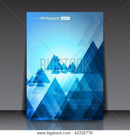Blue Abstract Triangles Flyer Template for You | EPS10 Background