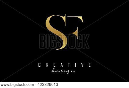 Golden Sf S F Letter Design Logo Logotype Concept With Serif Font And Elegant Style. Vector Illustra