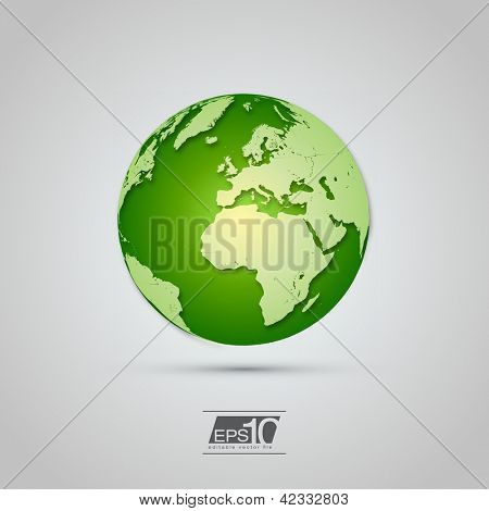 Green Globe Icon with Realistic Shadows | EPS10 Vector Design
