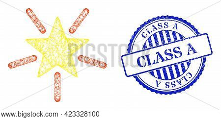 Vector Net Mesh Bright Star Wireframe, And Class A Blue Rosette Rubber Stamp Seal. Crossed Frame Net