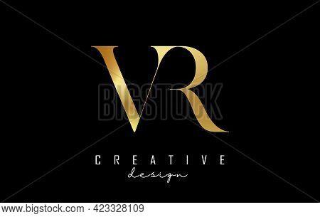 Golden Vr V R Letter Design Logo Logotype Concept With Serif Font And Elegant Style. Vector Illustra