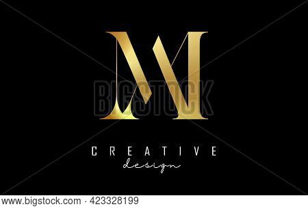 Golden Am A M Letter Design Logo Logotype Concept With Serif Font And Elegant Style. Vector Illustra