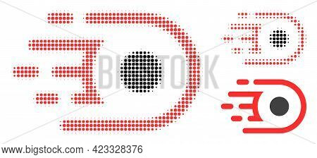 Speed Core Halftone Dotted Icon. Halftone Pattern Contains Round Dots. Vector Illustration Of Speed