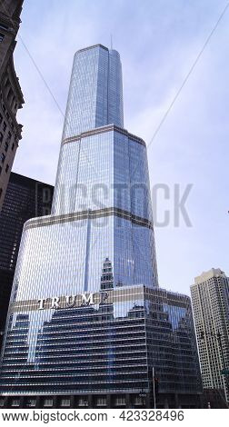 Chicago, Illinois, United States - Dec 11th, 2015: The Trump International Hotel And Tower In Downto