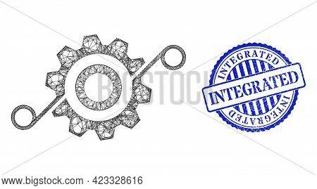 Vector Crossing Mesh Cog Solution Frame, And Integrated Blue Rosette Grunge Seal Print. Hatched Fram