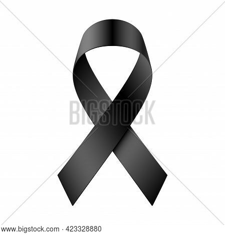 Mourning Black Ribbon Isolated On White Background