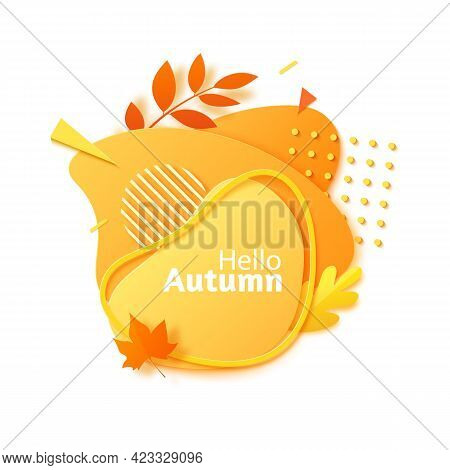 Hello Autumn Banner In Paper Cut Style. Orange Color Gradient Abstract Layers Cut Out From Cardboard