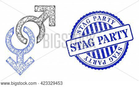 Vector Net Mesh Gay Symbol Wireframe, And Stag Party Blue Rosette Scratched Stamp. Crossed Frame Net