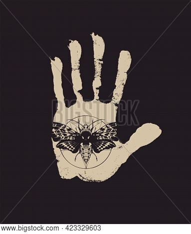 Vector Banner With A Palm Print On A Black Background In Retro Style. A Human Hand With An Inverted