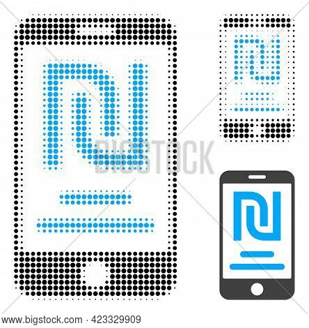 Shekel Mobile Account Halftone Dotted Icon. Halftone Array Contains Round Dots. Vector Illustration
