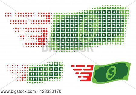 Waving Dollar Banknote Halftone Dotted Icon. Halftone Array Contains Circle Points. Vector Illustrat