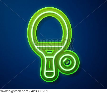 Glowing Neon Line Racket For Playing Table Tennis Icon Isolated On Blue Background. Vector