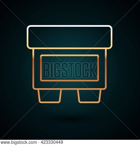 Gold Line Fuse Of Electrical Protection Component Icon Isolated On Dark Blue Background. Melting Bre