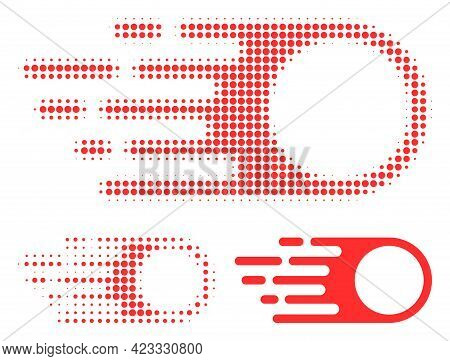 Photon Flight Halftone Dotted Icon. Halftone Pattern Contains Circle Dots. Vector Illustration Of Ph