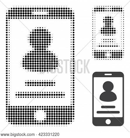 Smartphone User Info Halftone Dotted Icon. Halftone Pattern Contains Round Points. Vector Illustrati