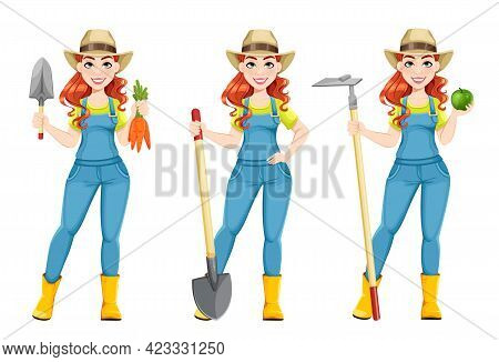 Beautiful Woman Farmer, Set Of Three Poses. Cute Girl Farmer Cartoon Character With Carrots, With Sh