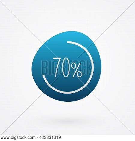 70 Percent Isolated Pie Chart. Vector Infographic Gradient Icon. Sign For Business, Finance, Web Des