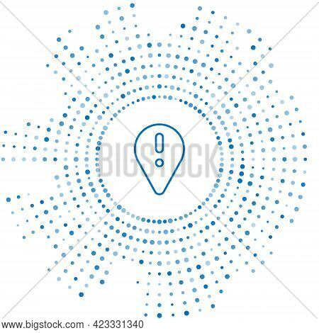 Blue Line Map Pointer With Exclamation Mark Icon Isolated On White Background. Hazard Warning Sign,