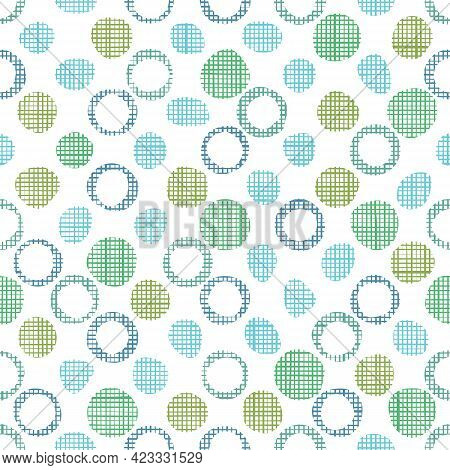 Doodle Woven Fabric Texture In Bubbles And Dots. Seamless Pattern Of Textile. Repeating Linen Or Cot