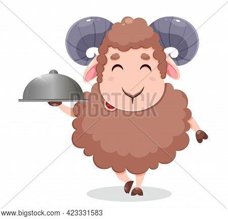 Eid Al Adha Mubarak Greeting Card. Cartoon Sacrificial Sheep For The Celebration Of Muslim Tradition