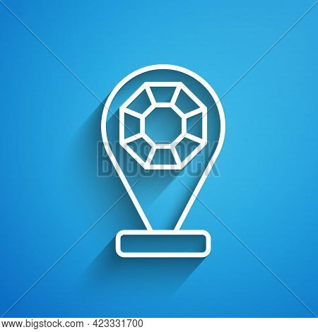 White Line Front Facade Building Jewelry Store Icon Isolated On Blue Background. Long Shadow. Vector