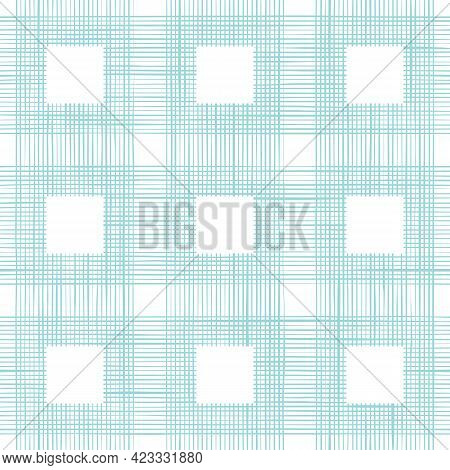 Pastel Blue Woven Fabric Texture In Square. Seamless Pattern Of Textile. Repeating Linen Or Cotton T