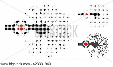 Neuron Digital Interface Halftone Dotted Icon. Halftone Array Contains Round Dots. Vector Illustrati