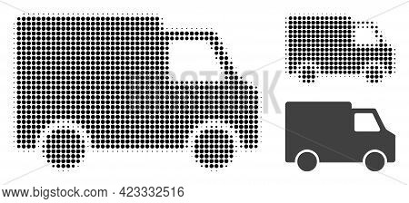 Van Car Halftone Dotted Icon. Halftone Array Contains Round Elements. Vector Illustration Of Van Car