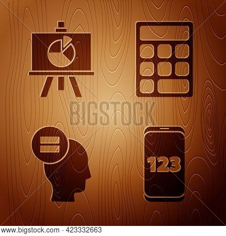 Set Mobile Calculator Interface, Chalkboard With Diagram, Calculation And Calculator On Wooden Backg