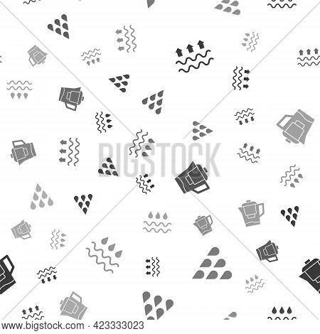 Set Waves Of Water And Evaporation, Water Drop, Jug With Filter And On Seamless Pattern. Vector