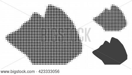 Rock Stone Halftone Dotted Icon. Halftone Pattern Contains Round Elements. Vector Illustration Of Ro
