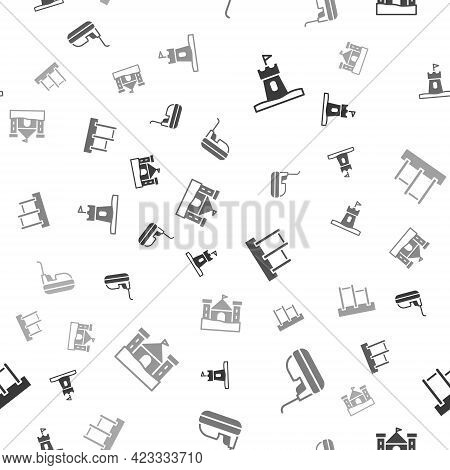 Set Sand Tower, Bumper Car, Horizontal Bar And Castle On Seamless Pattern. Vector
