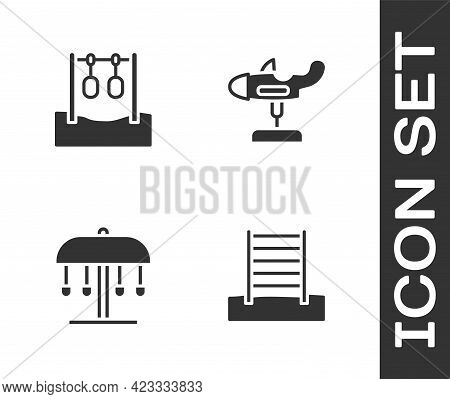 Set Swedish Wall, Gymnastic Rings, Attraction Carousel And Swing Plane Icon. Vector