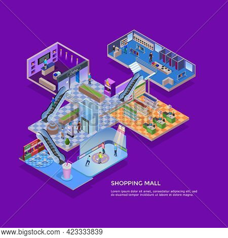 One Floor Of Shopping Mall Isometric Concept With Customers In Supermarket Clothing Shop And Skating