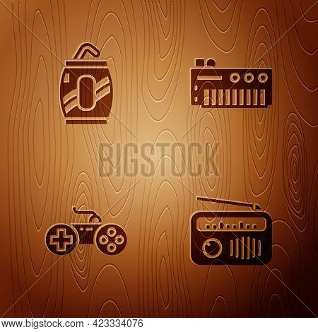 Set Radio With Antenna, Soda Can Straw, Gamepad And Music Synthesizer On Wooden Background. Vector