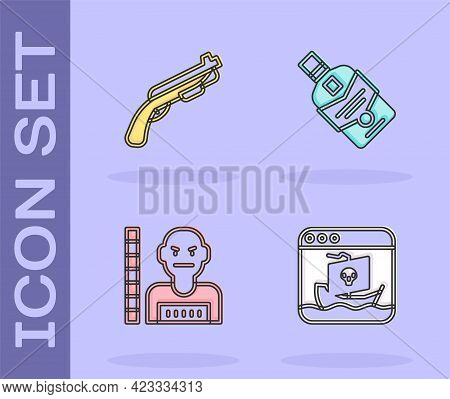 Set Internet Piracy, Police Shotgun, Suspect Criminal And Whiskey Bottle Icon. Vector