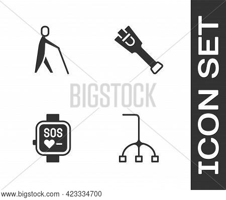 Set Walking Stick Cane, Blind Human Holding, Smart Watch And Prosthesis Leg Icon. Vector