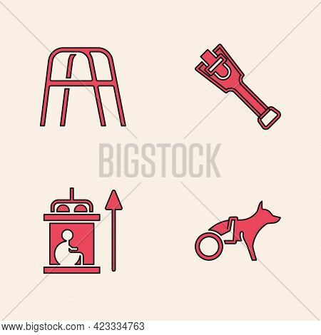 Set Dog In Wheelchair, Walker, Prosthesis Leg And Elevator For Disabled Icon. Vector