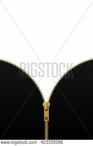 Zipper Lock Half Open On Black And White Background