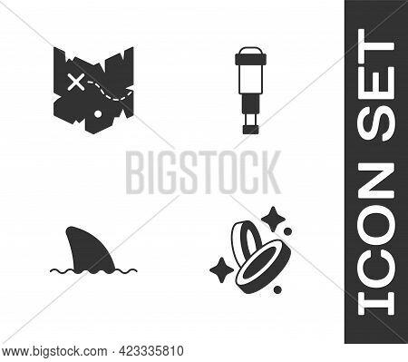 Set Pirate Coin, Treasure Map, Shark Fin Ocean Wave And Spyglass Telescope Lens Icon. Vector
