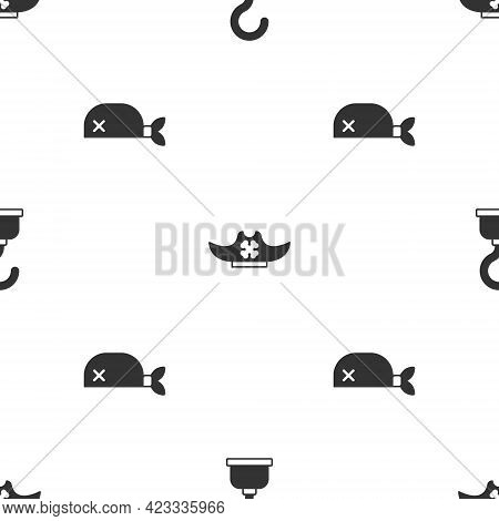 Set Pirate Hook, Hat And Bandana For Head On Seamless Pattern. Vector