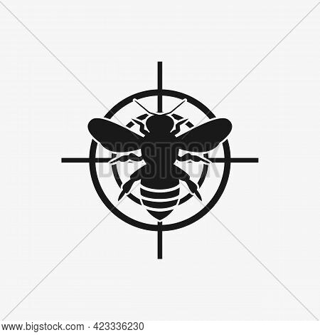 Asian Giant Hornet Or Bee Icon Red Target. Anti Wasp Vector. Red Prohibiting Target