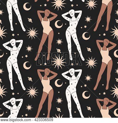 Celestial Feminine Magic Astrology Seamless Pattern. Woman Body Fairy Galaxy Lunar Mystic Art Boho M
