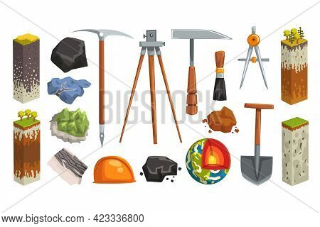 Geology And Earth Exploration Related Symbols Set, Globe Structure, Soil Layers, Geological Tools Ve
