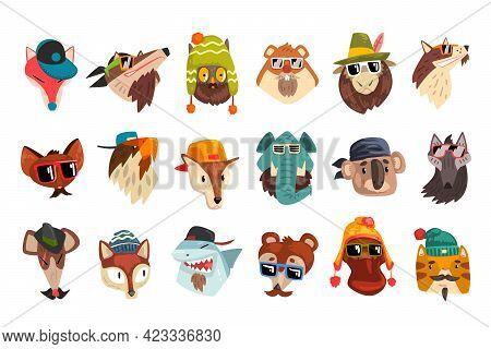 Cute Animal Heads Set, Owl, Koala, Wolf, Elephant, Tiger, Fox Wearing Stylish Headgears And Sunglas