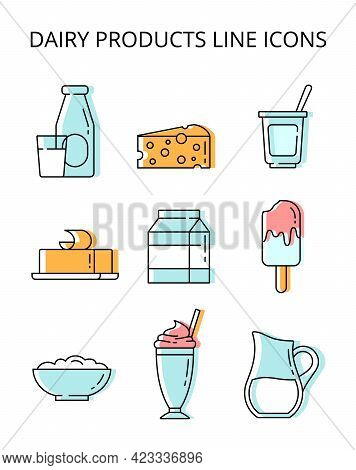 Milk Products. Set Of Colored Vector Icons In Flat Style
